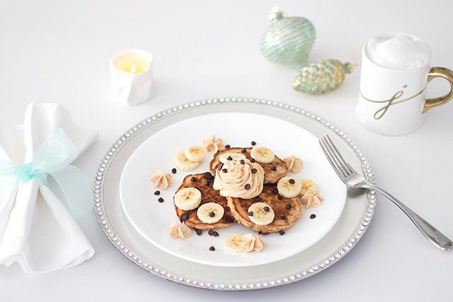 Healthy Christmas Brunch Recipe - Peanut Butter Banana Pancakes