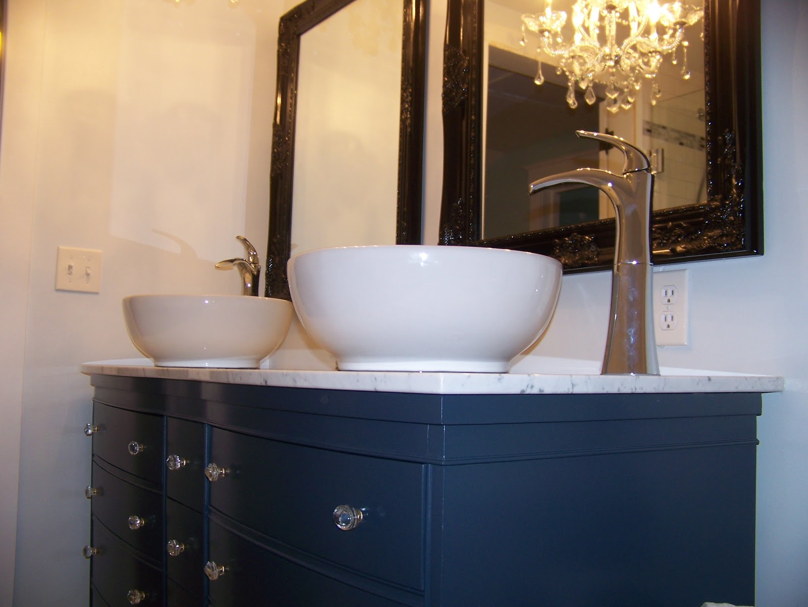 Julie peterson simple redesign turning a dresser into a for Turning a dresser into a bathroom vanity