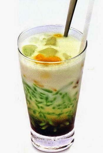 (Chè Bánh Lọt Đậu Xanh) - Cendol with Mung Bean Sweet Soup
