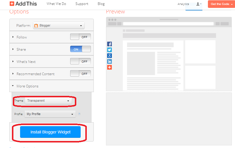 bloga yerleştirme ayarları