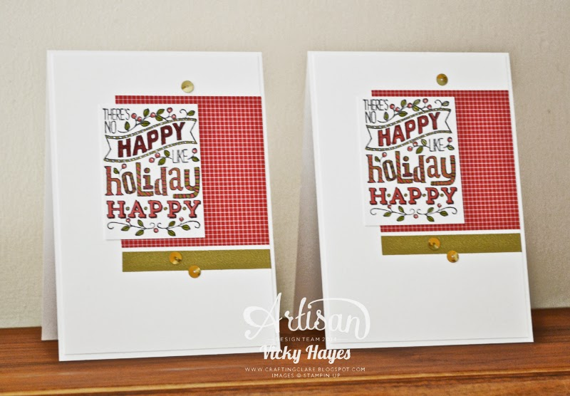 UK Stampin'Up demonstrator Vicky Hayes shows how to use washi, sequins and designer paper on a Christmas card