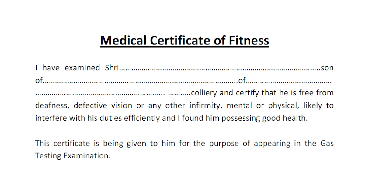 Medical Certificate For Gas Testing Exam - Gujarat's Mining ...