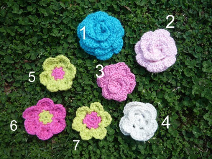 Crochet Flowers and Clips - free patterns