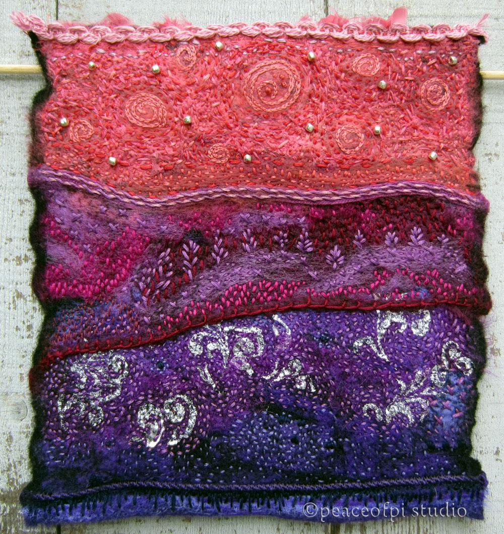 Peaceofpi studio hand embroidered fiber art quilt