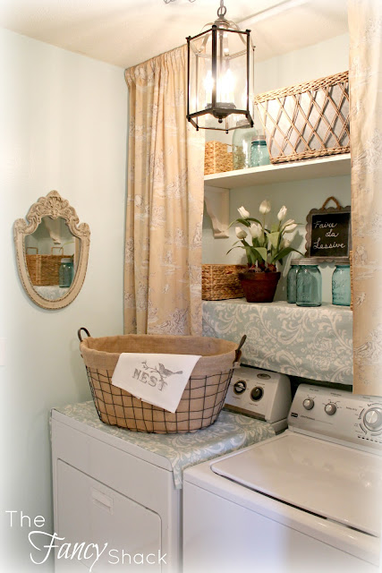 The fancy shack the laundry room makeover for Country laundry room curtains