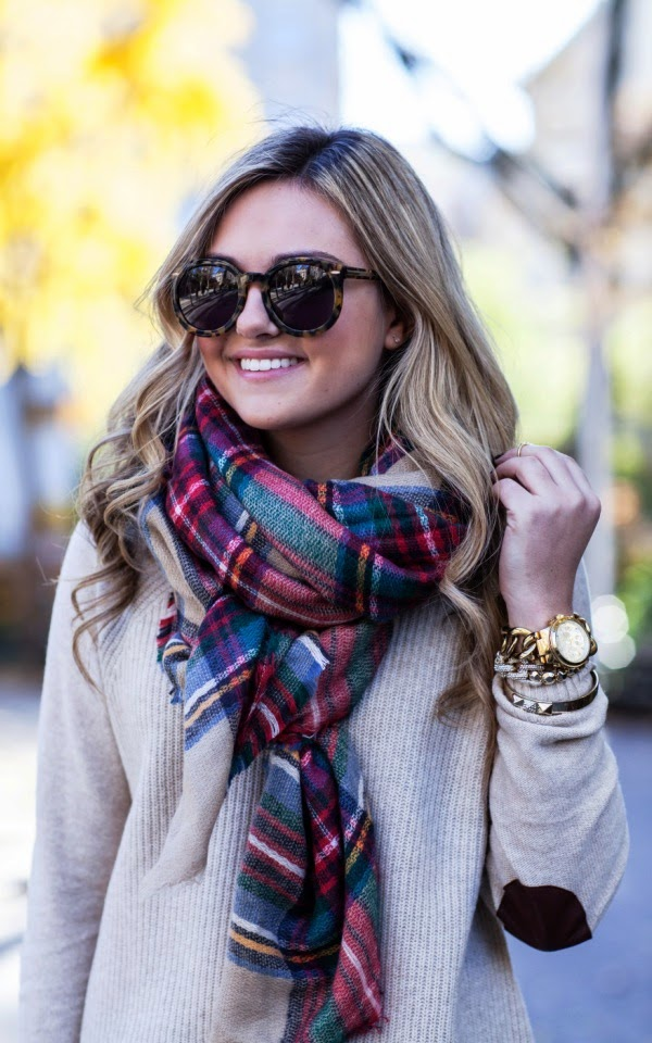 Gorgeous fall look elbow patch sweater and plaid scarf