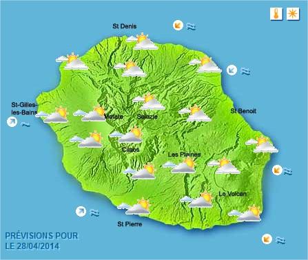 Prévisions météo Réunion pour le Lundi 28/04/14