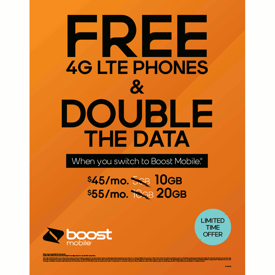 Boost reserves the right to change or cancel offer at any time. Sprint 4G LTE network reaches over million people. Prohibited network use rules & other restrictions apply.