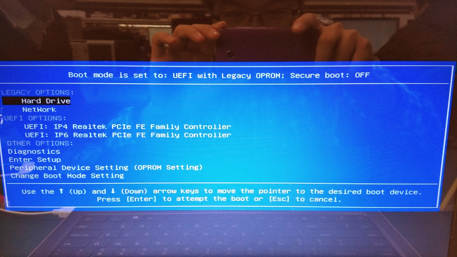 1. We choose Legacy Network as boot option