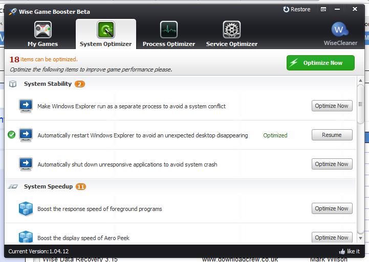 برنامج مجاني لتسريع وتحسين الالعاب Wise Game Booster 1.26