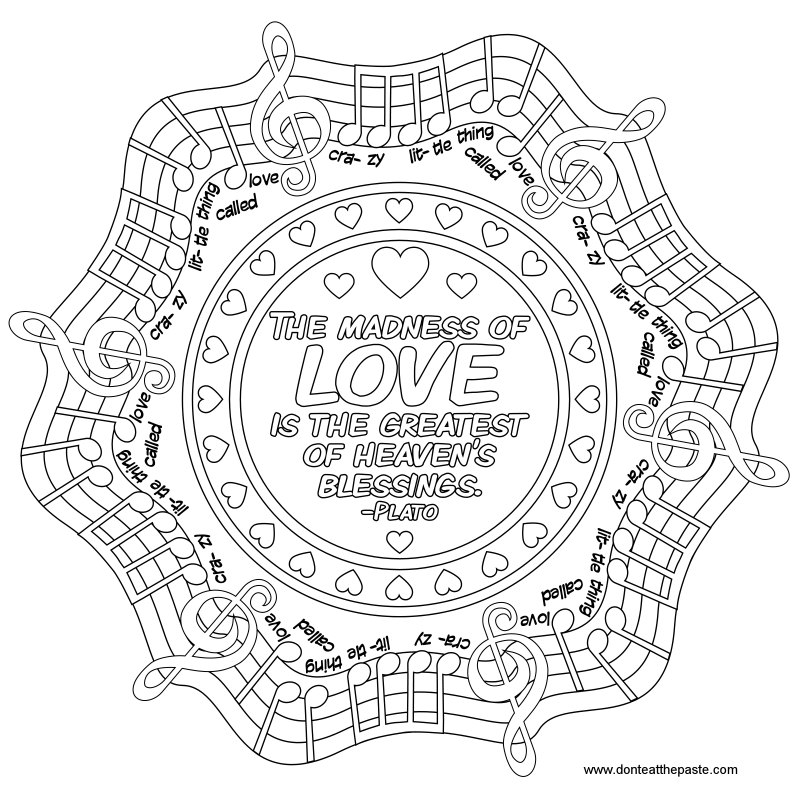 JPG- Love quote mandala to color #music #Plato #Queen #quote