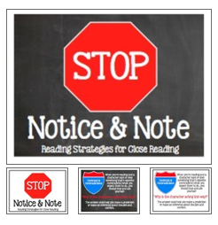 http://www.teacherspayteachers.com/Product/Stop-Note-Notice-Reading-Strategies-for-Close-Reading-Chalkboard-theme-862279