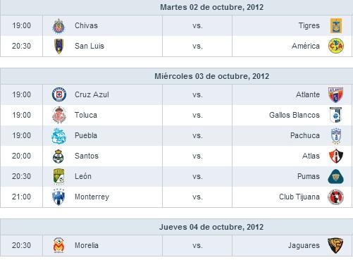 Partidos Jornada 11 mitad de Semana Liga MX
