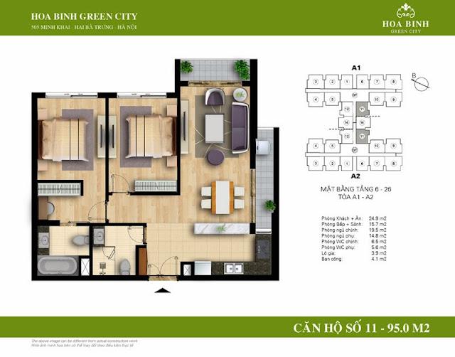 chung cư Hòa Bình Green City Căn hộ số 11 dt 95m2