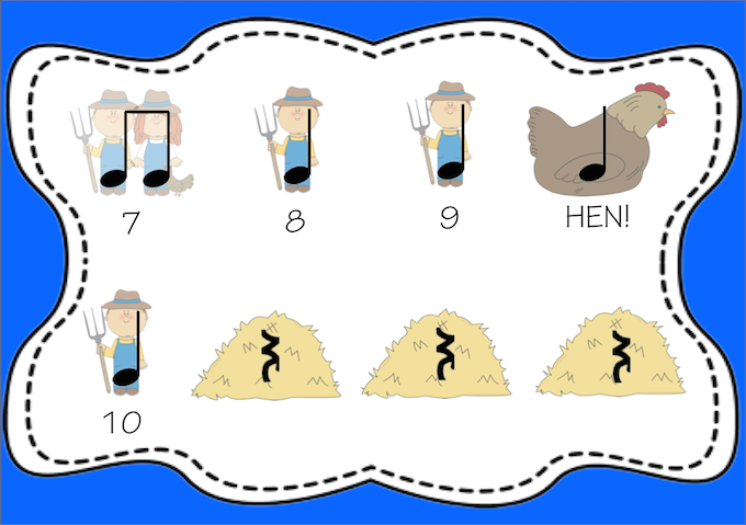 http://www.teacherspayteachers.com/Product/Big-Fat-Hen-A-Rhythm-Activity-1394062