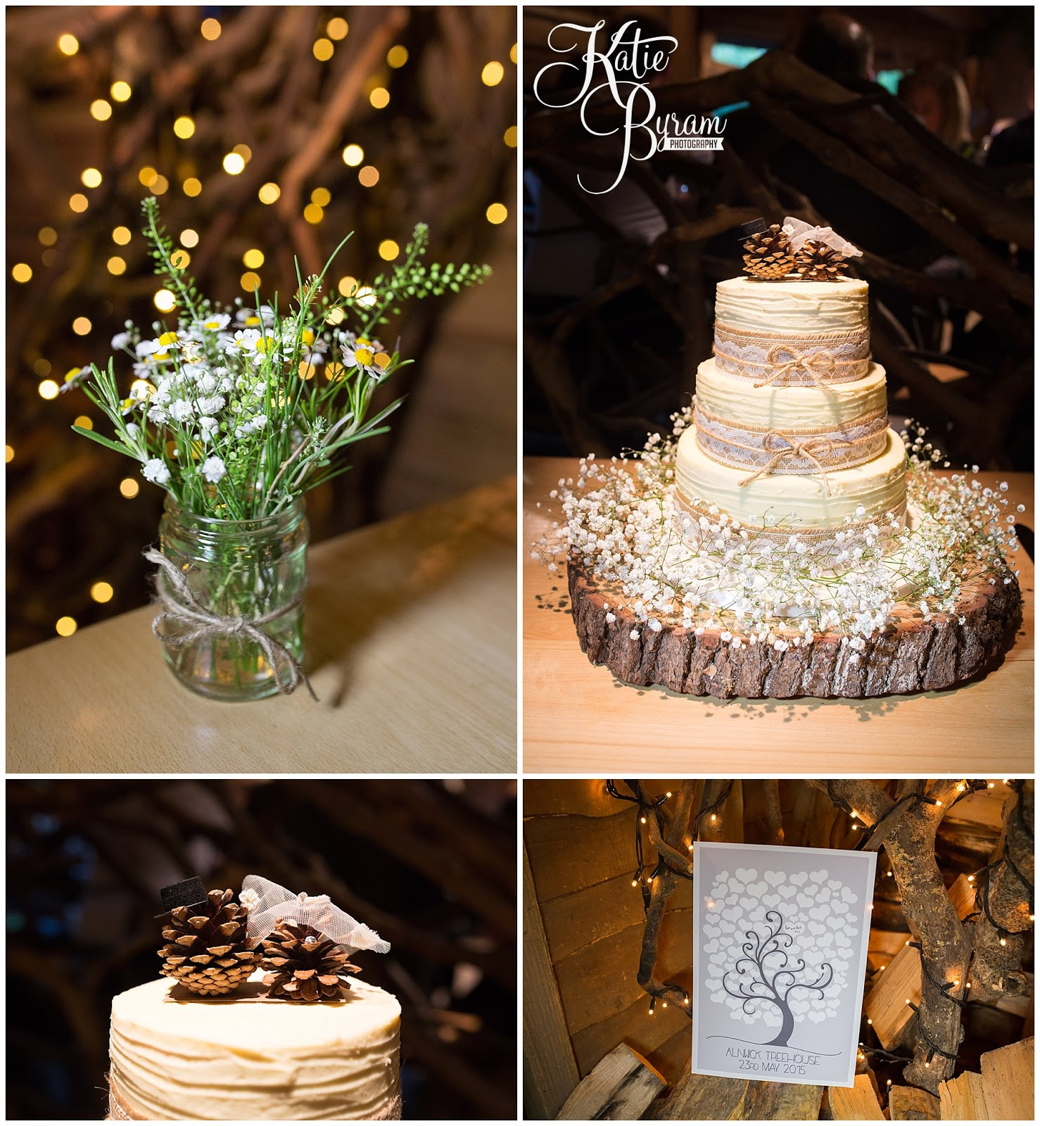 Woodland Theme Wedding Daisy Tree Stump Cake Stand