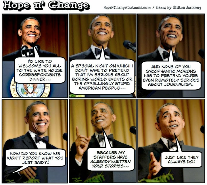 obama, obama jokes, cartoon, humor, correspondents, dinner, roast, jokes, conservative, hope and change, hope n' change, stilton jarlsberg, tea party