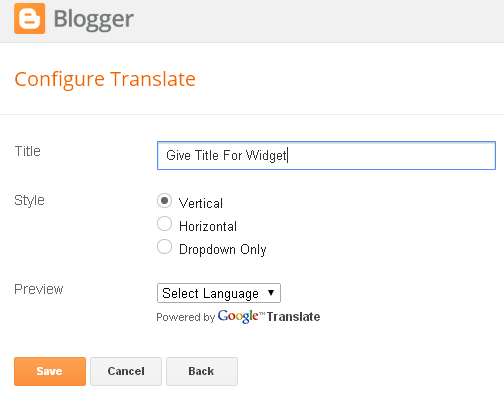 Google Translate Widget Blogger