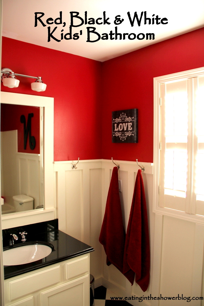 Eating in the shower red black white kids 39 bathroom for Bathroom ideas red and black