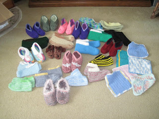 crocheted slippers and cotton washcloths