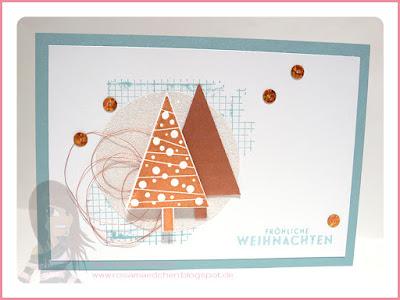 Stampin' Up! Rosa Mädchen Weihnachtskarten in Kupfer mit Off the Grid, Christbaumfestival und Flockenzauber