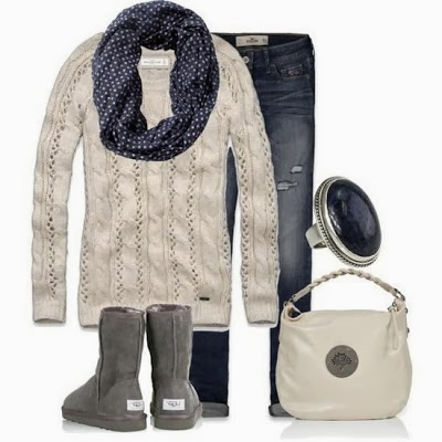Black polkadot scarf, sweater, jeans, warm boots and handbag for fall