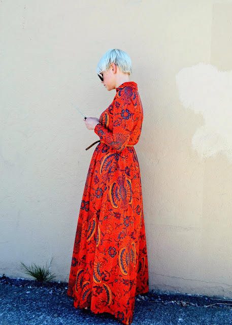 maxi dress, summer 2013, in style, red, short hair, blonde, fleur d'elise, seattle, street style, fashion, oasap