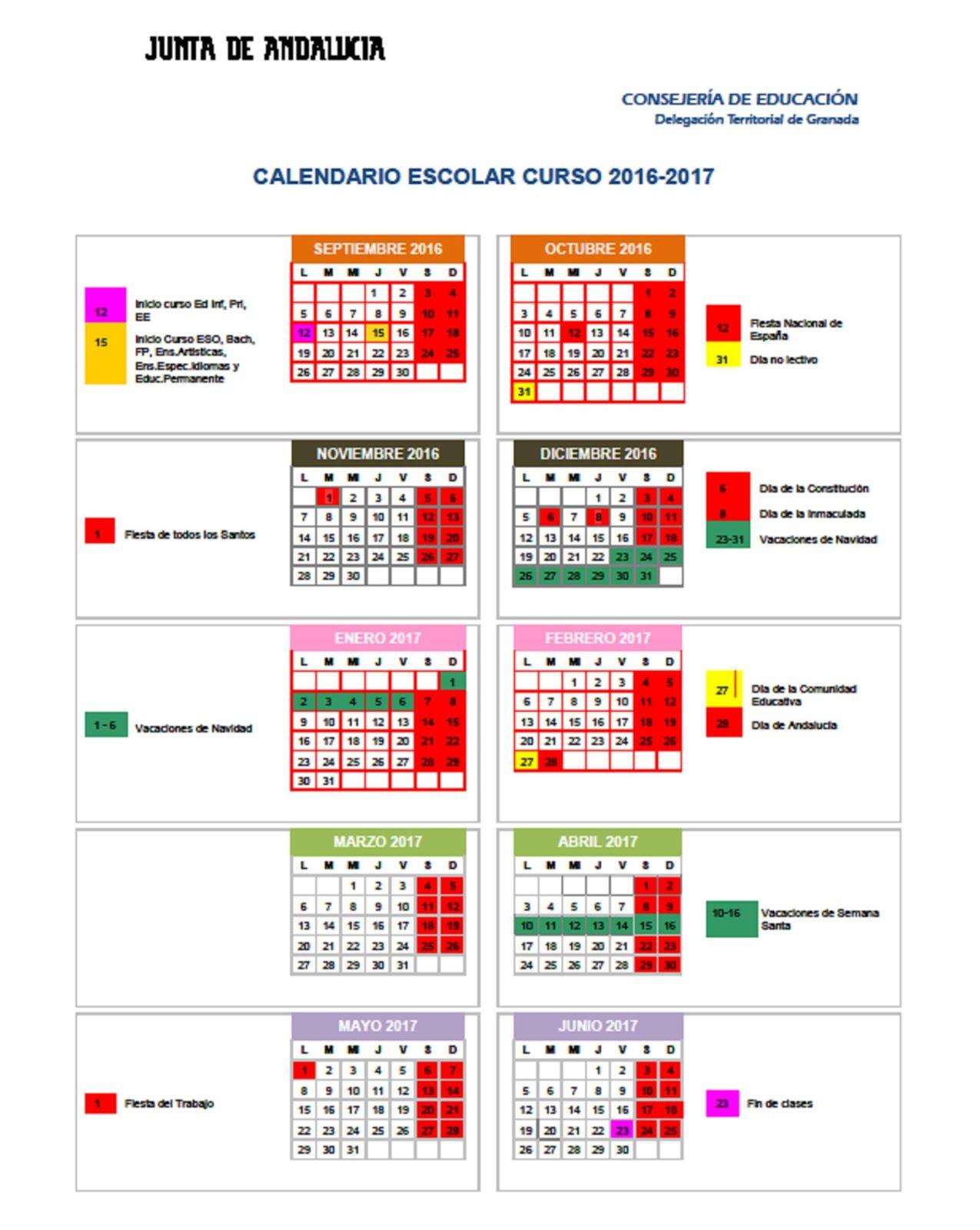 Calendario Escolar 2016-17.