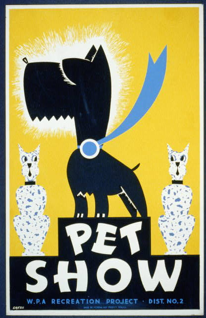 animal poster, wildlife, wpa, federal art project, vintage, vintage posters, graphic design, free download, retro prints, classic posters, Pet Show, WPA Recreation Project - Vintage Dog Animal Poster