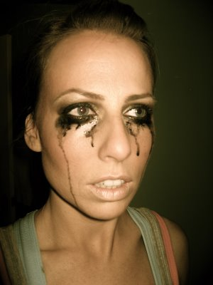 woman crying with mascara running