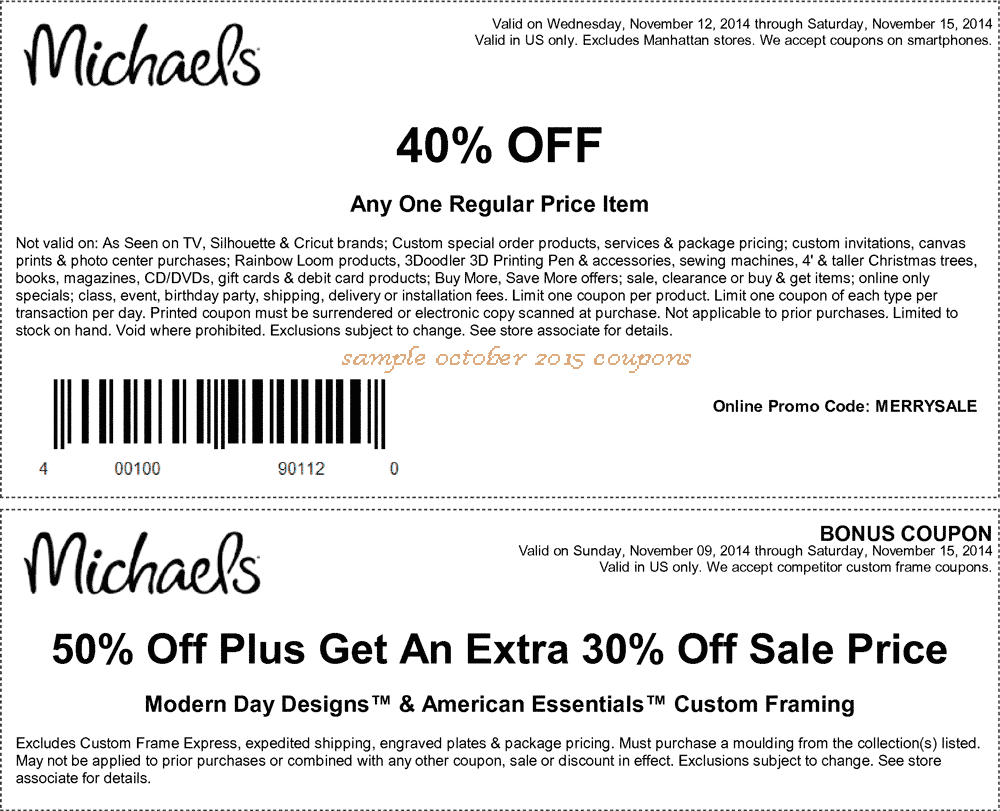 Michaels discounts coupons