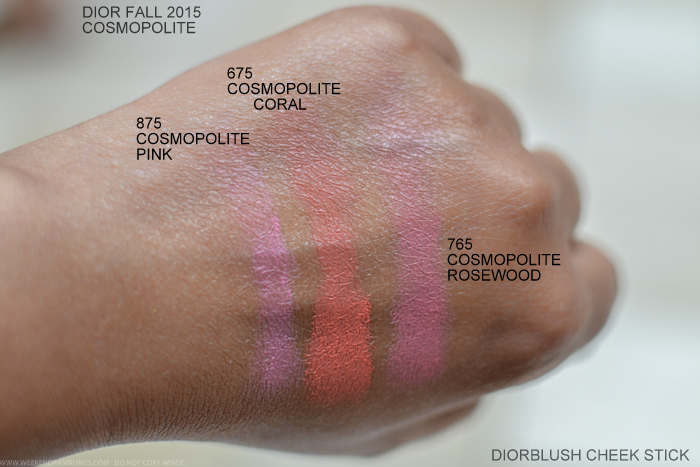 Dior Cosmopolite Autumn Fall 2015 Makeup Collection Swatches Diorblush Cheek Sticks 845 Pink 672 Coral 845 Pink