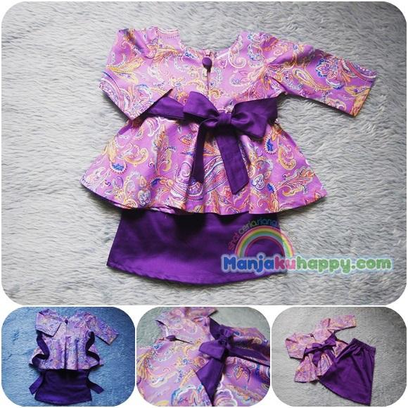 Baju Kurung Pahang Ibu Sedondon dengan anak Purple Paisley BKibu15 (S