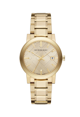 BURBERRY 38MM GOLDEN WATCH WITH 5-LINK STRAP