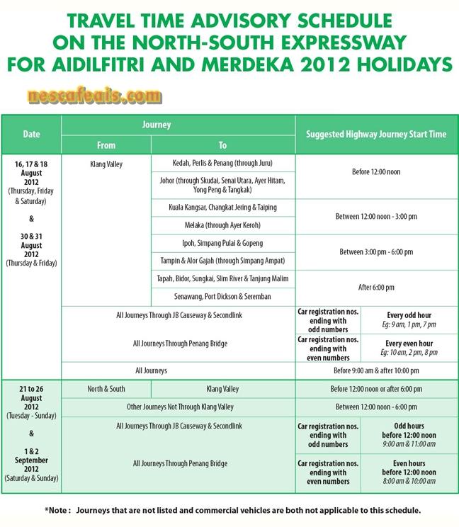 Jadual Cadangan Waktu Perjalanan Balik Raya TTA PLUS Raya 2012