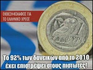 Εκθεση – κόλαφος για το ελληνικό χρέος: Το 92% των δανείων από το 2010 έχει επιστραφεί στους πιστωτές!