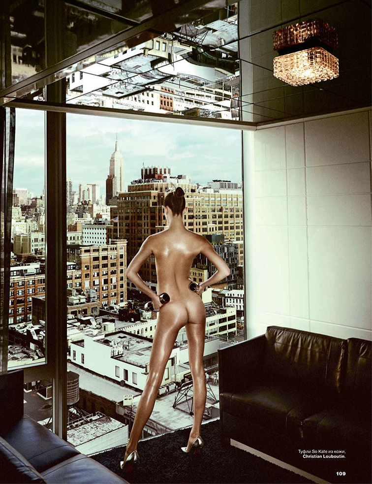Kasia Struss for Allure Russia April 2014 photographed by Giampaolo Sgura styled by Anya Ziourova, New York City, butt nakes, Christian Louboutin metallic silver pumps