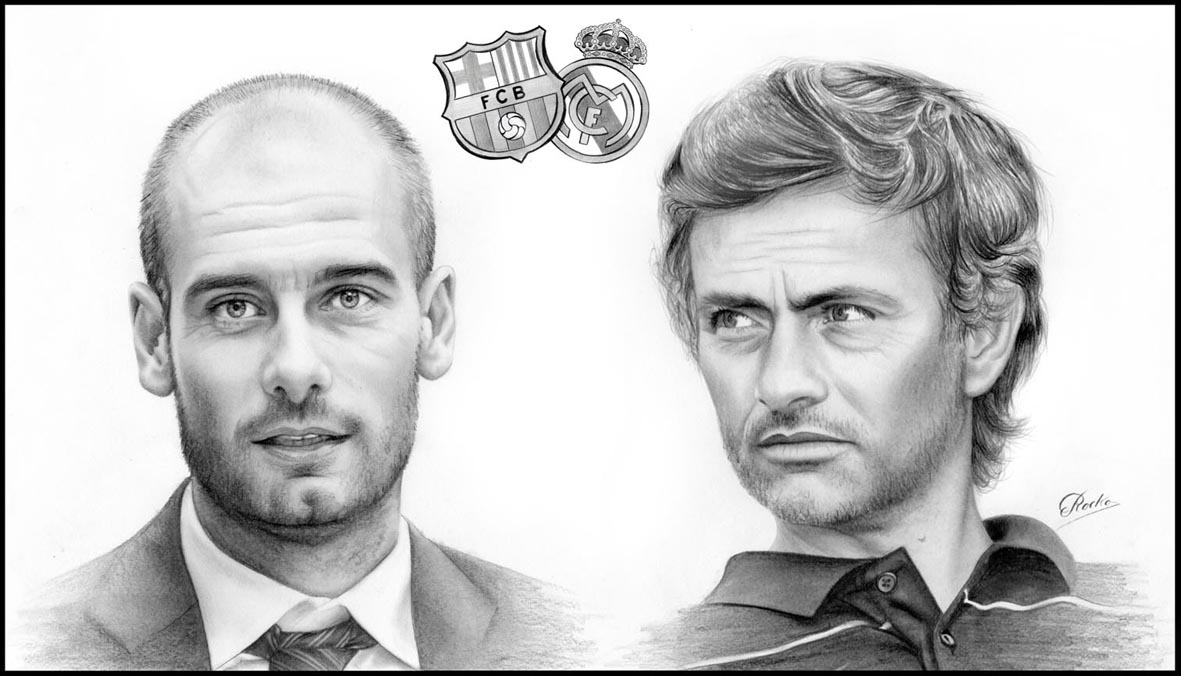 Guardiola Y Mourinho  Escudo FC Barcelon Y Escudo Real Madrid