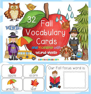 Fall Vocabulary Cards and Reading Centers Clever Classroom