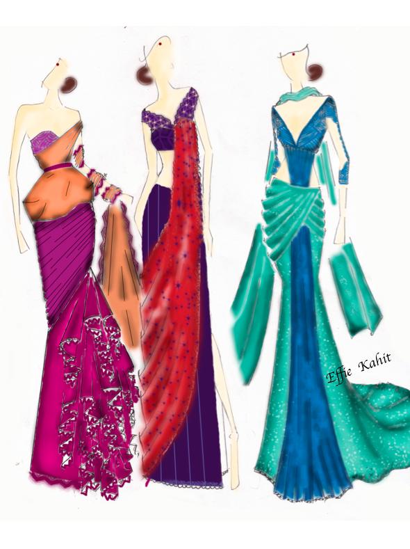 Saree fashion sketch  Haute Couture FASHION DESIGN