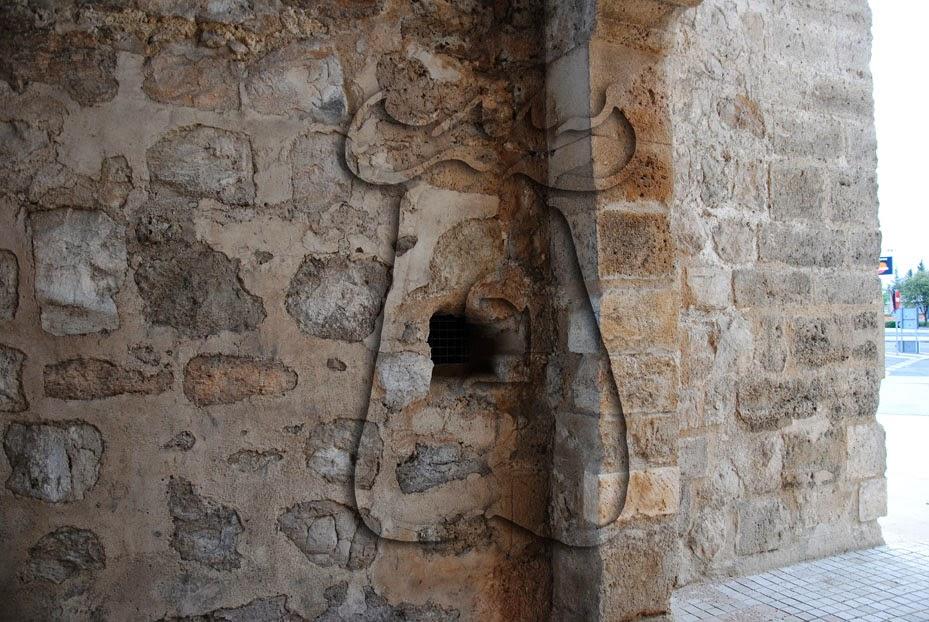 Mechinal donde encastrar el alamud de la puerta exterior de la muralla urbana de Ciudad Real (Castilla-La Mancha), Puerta de Toledo.