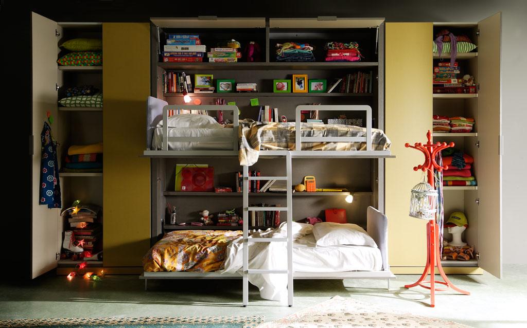Fotografias de dormitorios con literas abatibles for Habitaciones con literas
