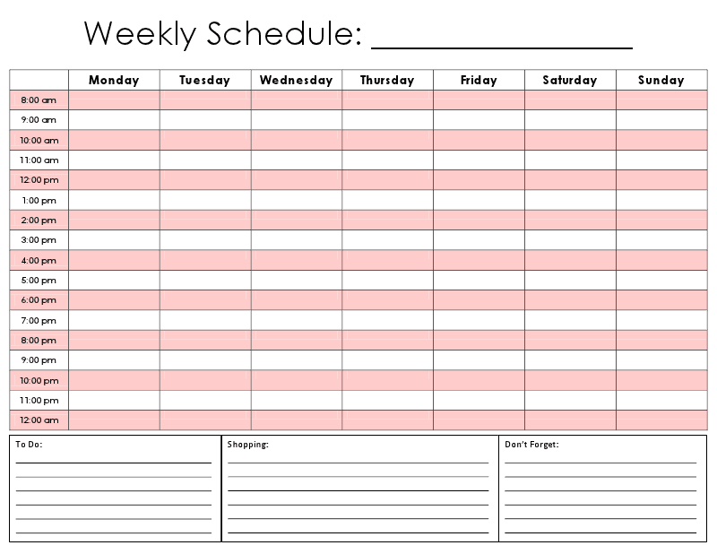 printable daily hourly schedule template Car Pictures