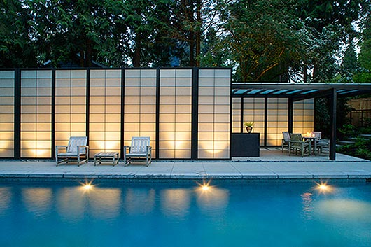 translucent wall design modern pool house designs. Black Bedroom Furniture Sets. Home Design Ideas