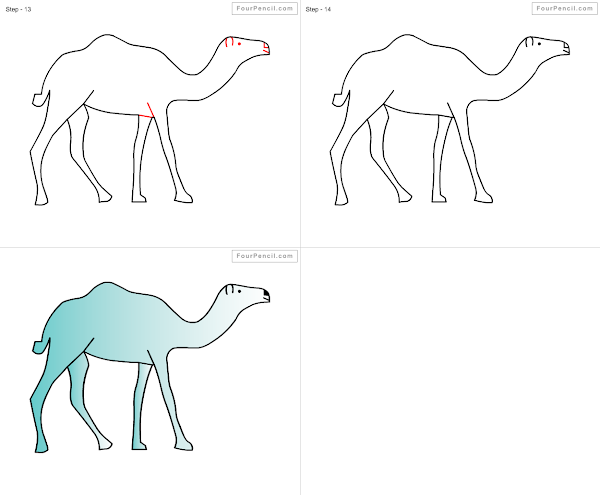 how to draw a cartoon camel step by step
