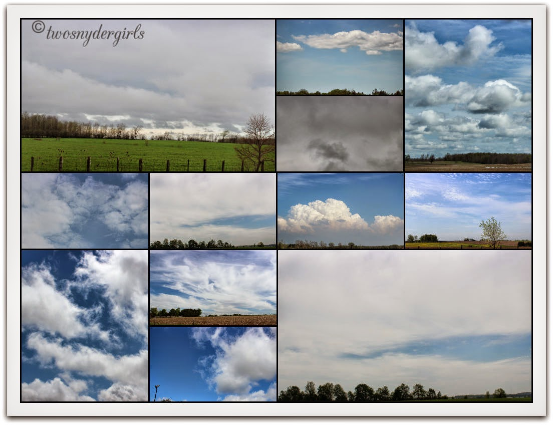 A collage of the sky