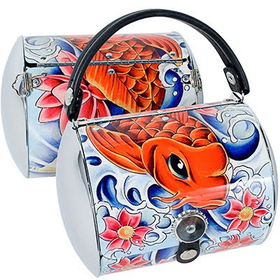 Toxiferous designs koi fish tattoo little earth purse for Koi fish purse