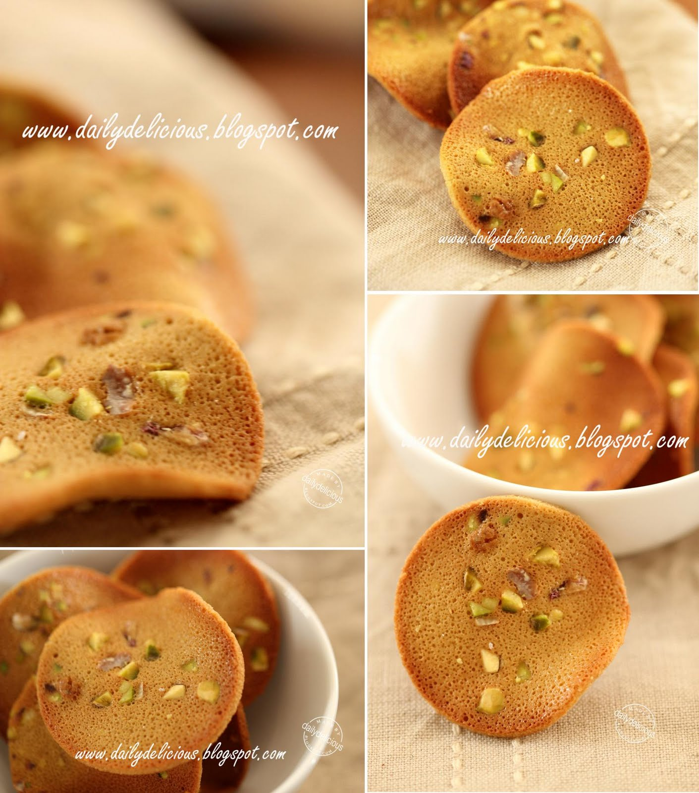 Pistachio tuiles: Thin, delicious and very nutty cookies!