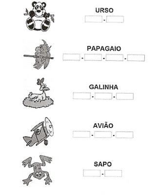 Atividade sepaar sílabas - Alfabetização.
