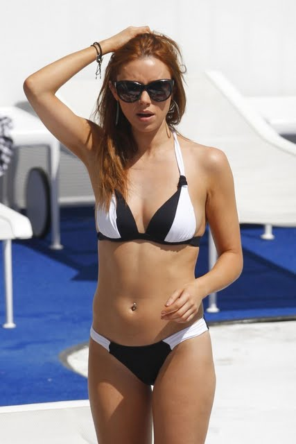 The Saturdays girls group bikini candids